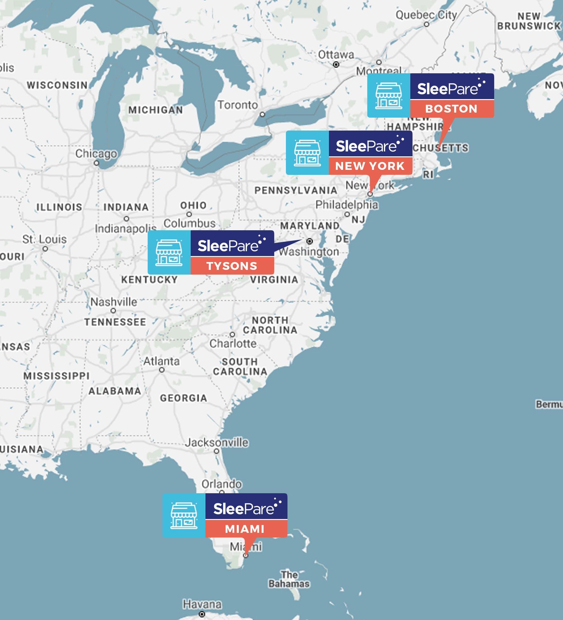 SleePare Mattress Stores US Map