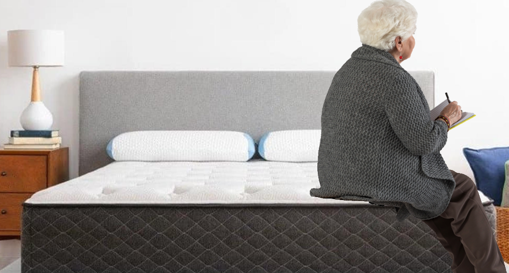 Image of elderly person on a Bear mattress (or someone sitting on the edge)
