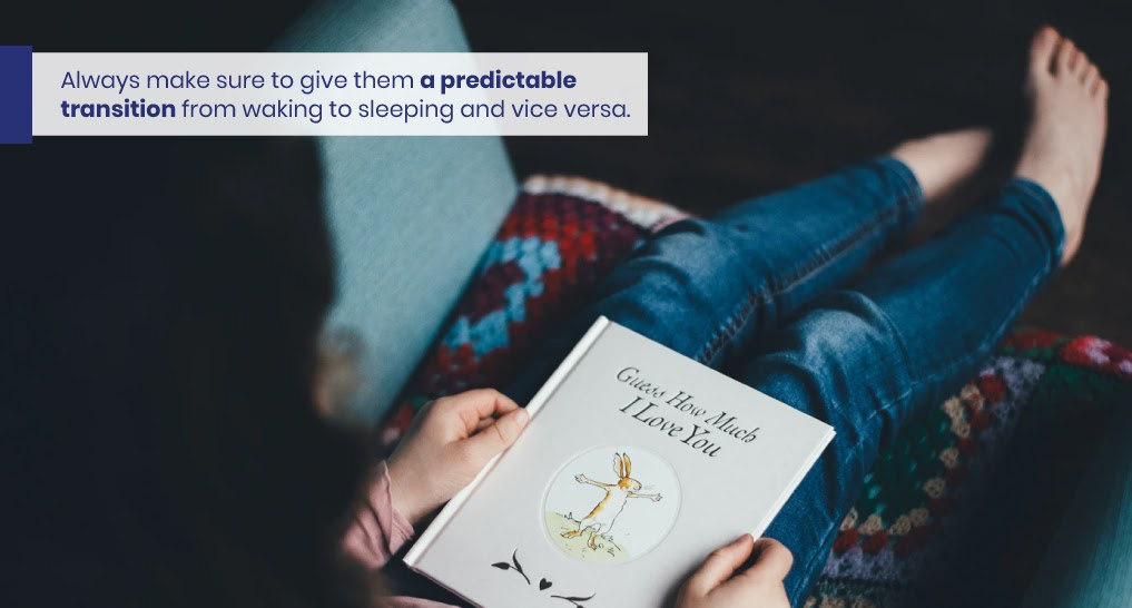 Kid practicing their bedtime routine - like this - Text: Always make sure to give them a predictable transition from waking to sleeping and vice versa.