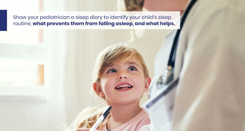 Kid at the doctor  - like this - Text: Show your pediatrician a sleep diary to identify your child's sleep routine, which prevents them from falling asleep, and what helps.