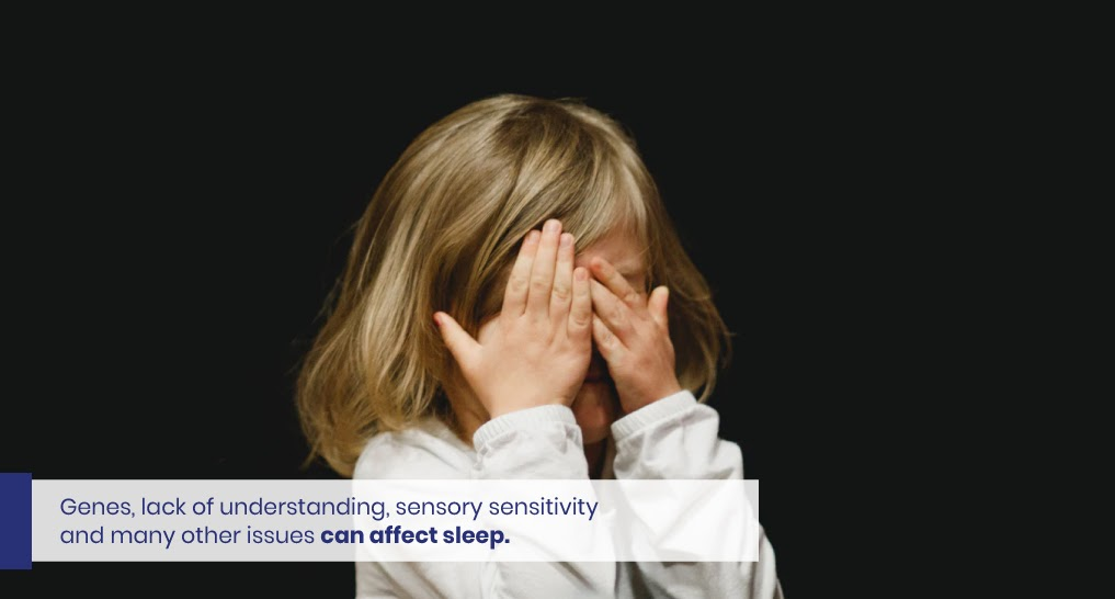 Text: Genes, lack of understanding, sensory sensitivity and many other issues can affect sleep.