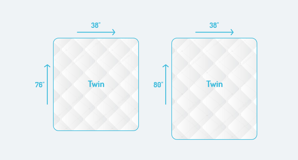comparing a twin side by side with dimensions