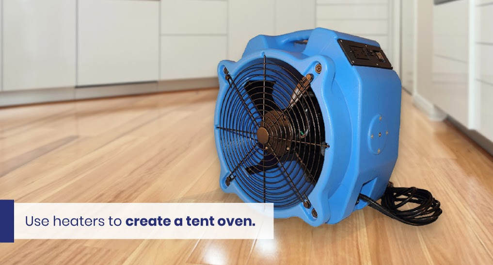 """bed bug heater - text: """"Use heaters to create a tent oven."""""""