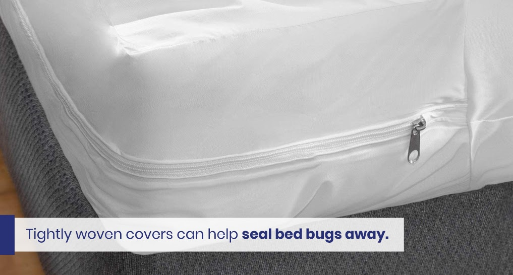 """mattress cover with zipper - text """"Tightly woven covers can help seal bed bugs away."""""""