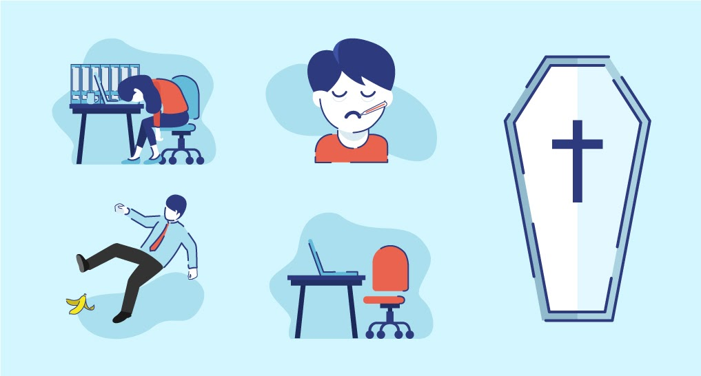 the five ways sleep deprivation costs companies maybe an employee slipping on a floor, a person at a desk with a lot of stuff on their desk, a person with a thermometer in their mouth, a desk with no one there, and a coffin