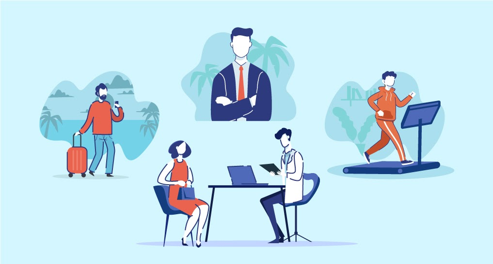 the five benefits employers can implement maybe an employee taking a vacation sitting near a palm tree, someone in a shirt with a tie outside, someone meditating, someone going to the doctor, a man in a suit exercising