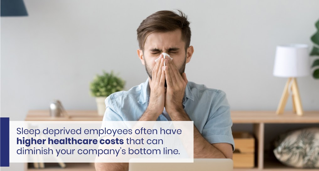 """a sick employee - text: """"Sleep deprived employees often have higher healthcare costs that can diminish your company's bottom line."""""""