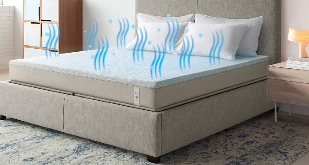 cooling mattress with waves coming off it