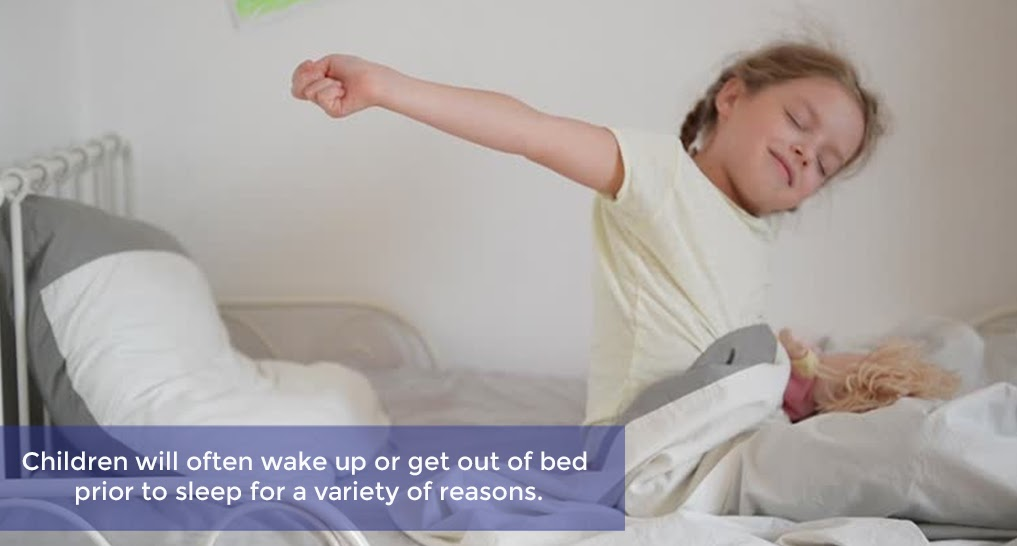 kid waking up Text: Children will often wake up or get out of bed prior to sleep for a variety of reasons.