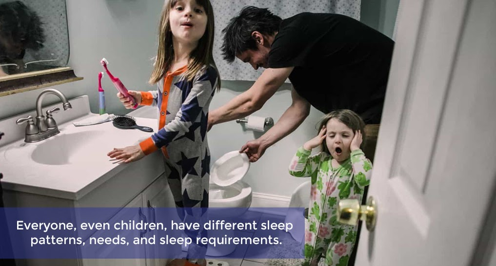 family getting ready for bed.  Text: Everyone, even children, have different sleep patterns, needs, and sleep requirements.