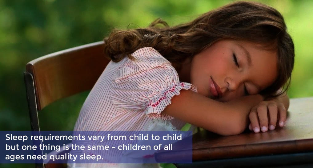 kid sleeping on desk Text: Sleep requirements vary from child to child, but one thing is the same–children of all ages need quality sleep.