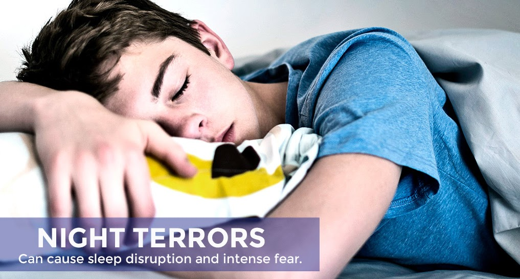 school aged or teenager sleeping Text: Night terrors can cause sleep disruption and intense fear.