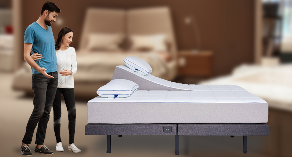 Person shopping for an adjustable bed