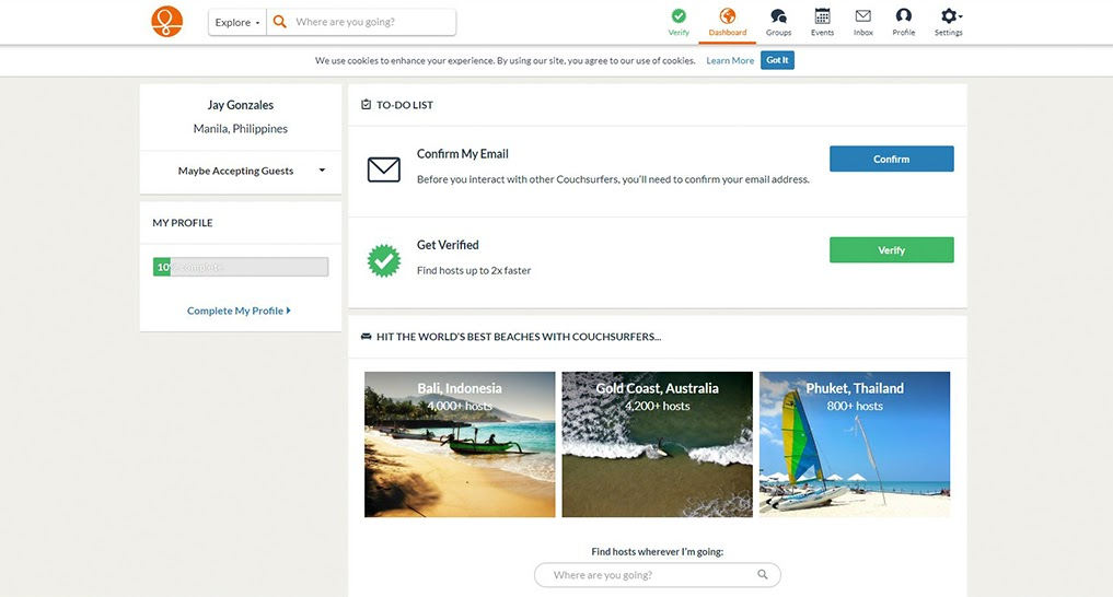 screenshot of couchsurfing.com's homepage