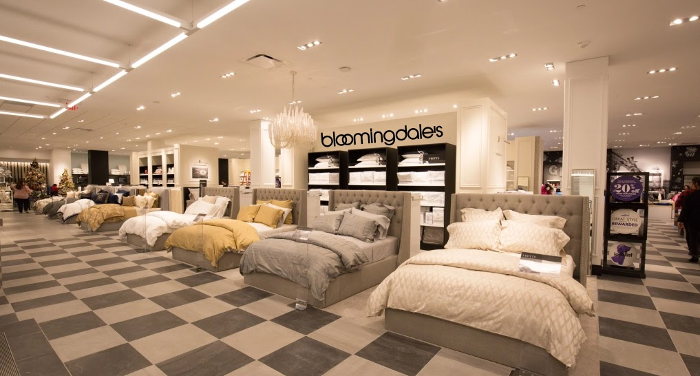 shot of the bedding section at bloomingdales